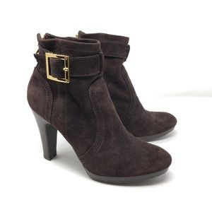 Tory Burch Melrose Suede Ankle Booties Brown 8.5
